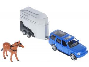 HTI Roadsterz Джип с прицепом для лошади - игровой набор голубой