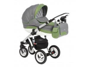 Adamex Aspena Delux - коляска 2 в 1 (серая и зеленые полосы 352W)