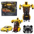 Робот 1toy на радиоуправление 2,4GHz, трансформирующийся в легковую машину, 20 см, жёлтый