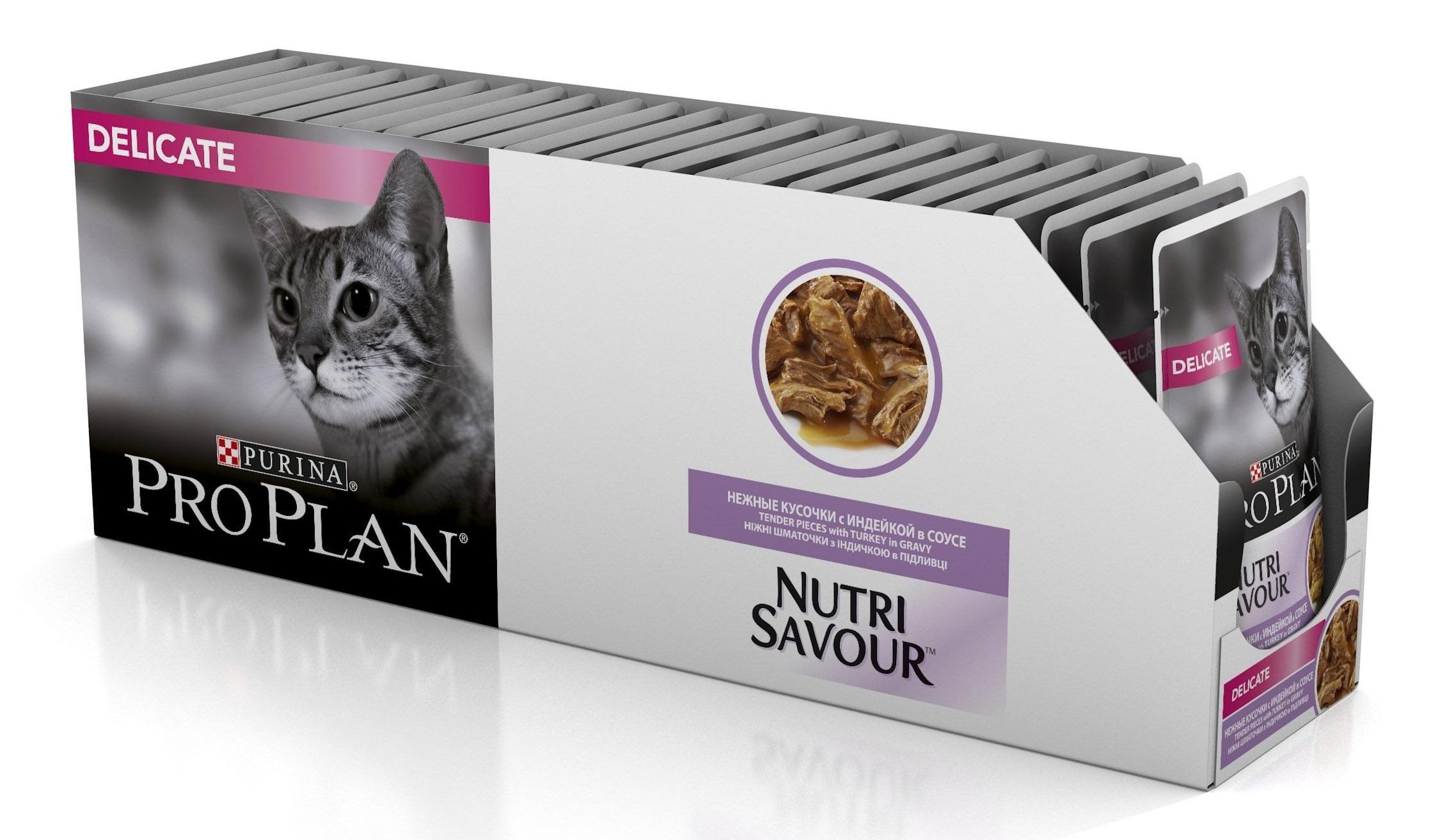Консервы для домашних кошек ProPlan Nutrisavour HouseCat, индейка в желе, пауч, 85г*24 шт.