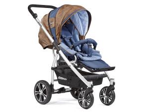 Gesslein F4 - коляска-транформер коричневая кожавкладыш голубой