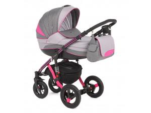Adamex Aspena Grand Collection - коляска 3 в 1 серо-розовая