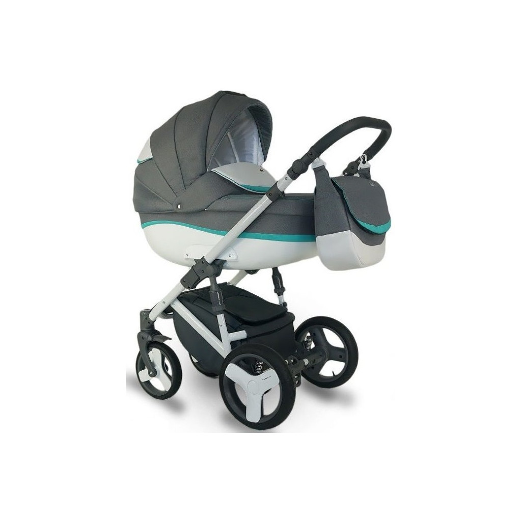BEXA Ideal New - коляска универсальная 3 в 1 (т.серый бирюзовый)