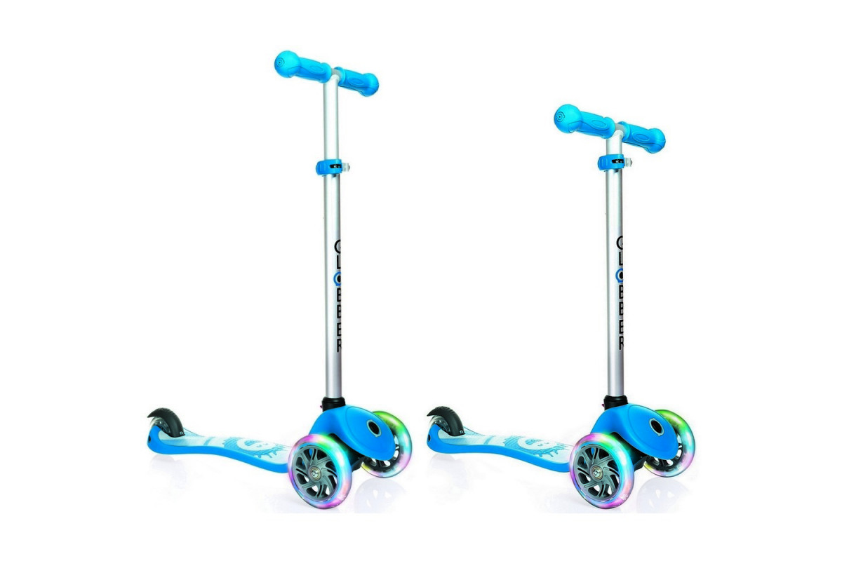 Y-Scoo Globber Primo Fantasy - детский самокат со светящимися колесами Smiling Sky синий