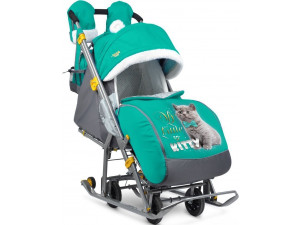 Ника Детям 7 2 - детские санки-коляска Kitty изумруд