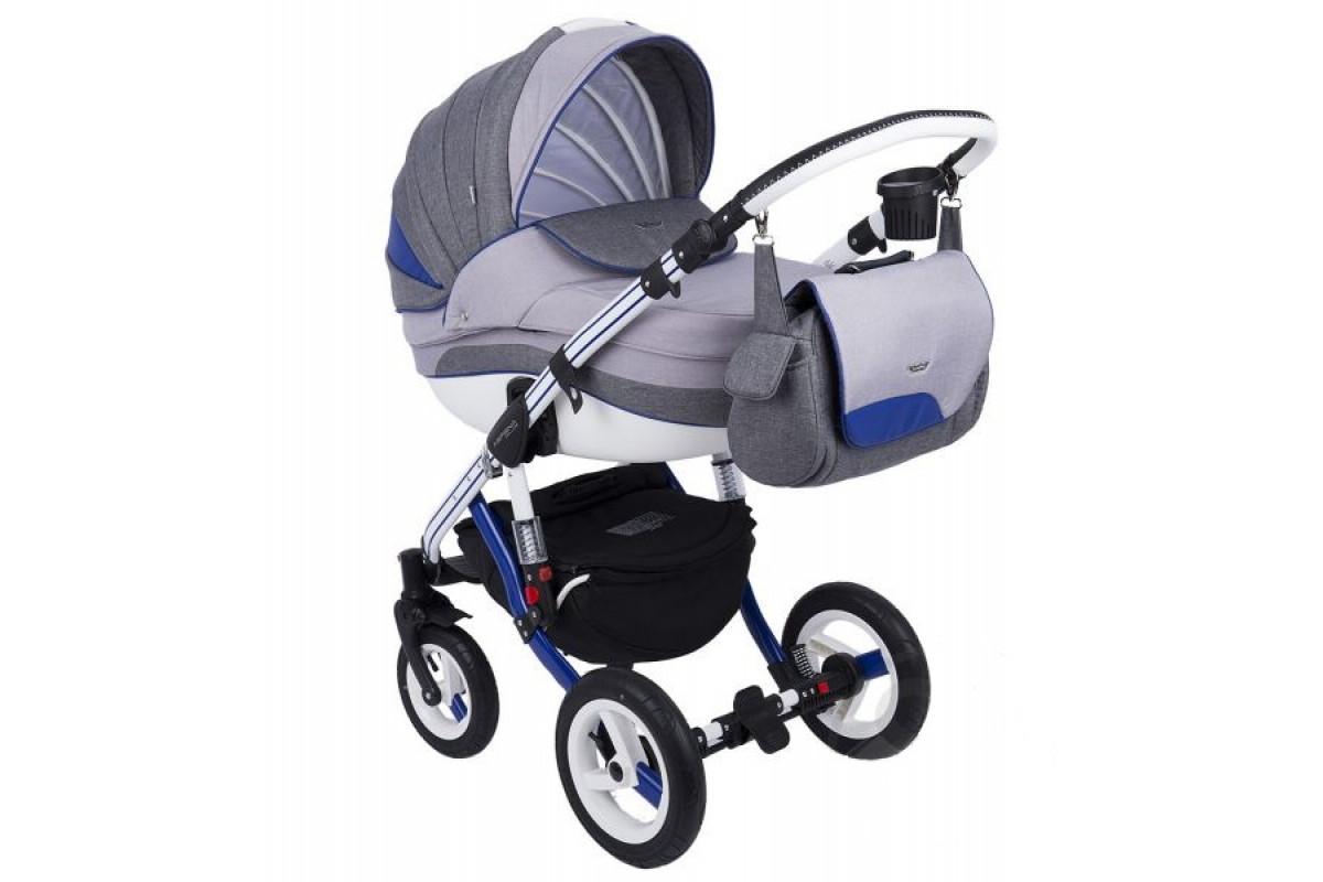 Adamex Aspena Grand Collection - коляска 3 в 1 серо-синяя