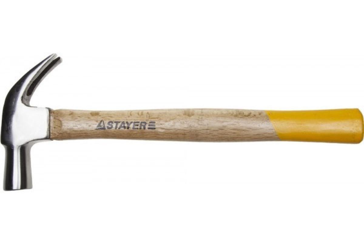 """Молоток-гвоздодер STAYER """"STANDARD"""" TopStrike кованый, с деревянной ручкой, 450г"""