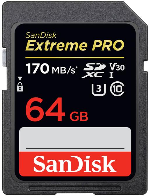 Карта памяти SanDisk Extreme Pro SDXC 64GB Class 10 V30 UHS-I (U3) 170MB/s