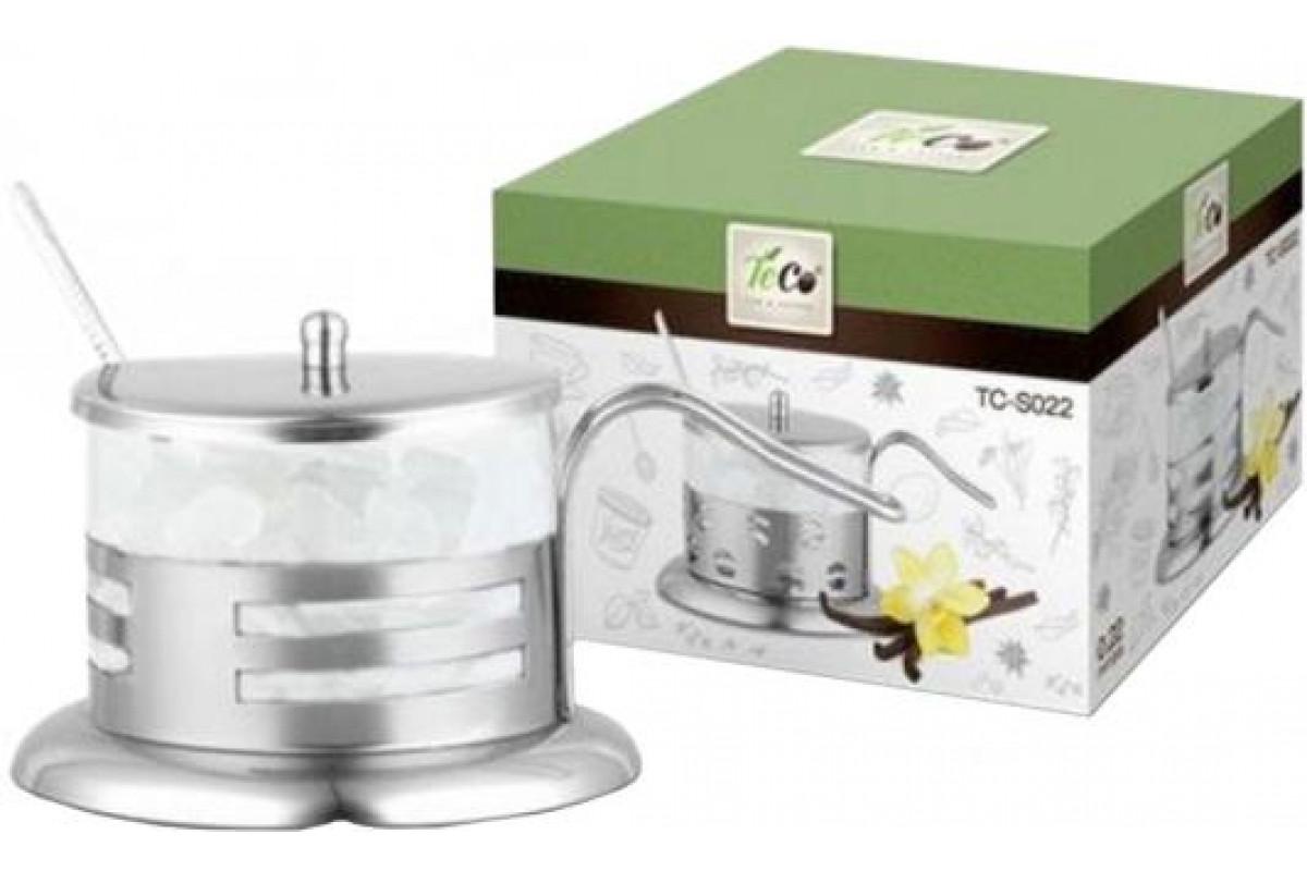 Сахарница TECO TC-S022-3((полоска) (из стекла и нержавеющей стали (200мл)