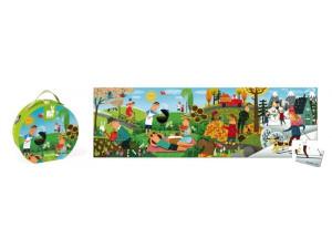 Janod Пазл Времена года панорамный в круглом чемоданчике: 36 элементов