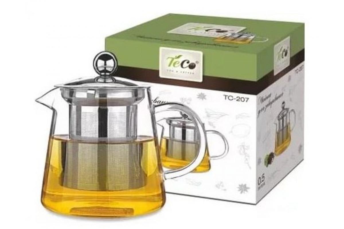 Чайник для заваривания TECO TC -207 (500мл,из стекла c ситом и крышкой из стекла)