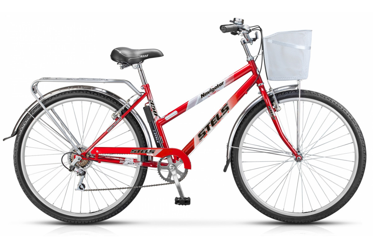 """Велосипед Stels Navigator 28"""" 350 Lady Z010 (с корзиной) (LU085345) Красный"""
