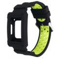 Защитный ремешок для фитнес-браслета Fitbit Charge 3 черный с зеленым