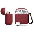 Чехол Dirose для Apple Airpods 1/2, кожаный, с брелоком, красный