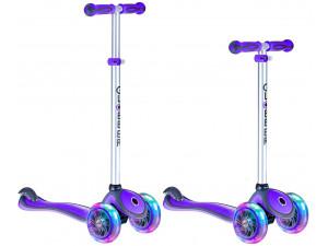 Y-Scoo Globber Primo Plus - детский самокат со светящимися колесами пурпурный