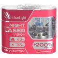 Лампа галогеновая Clearlight H4 Night Laser Vision +200% Light 2 шт, DUOBOX