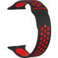 Ремешок силиконовый перфорированный для Apple Watch 40мм, черно-красный