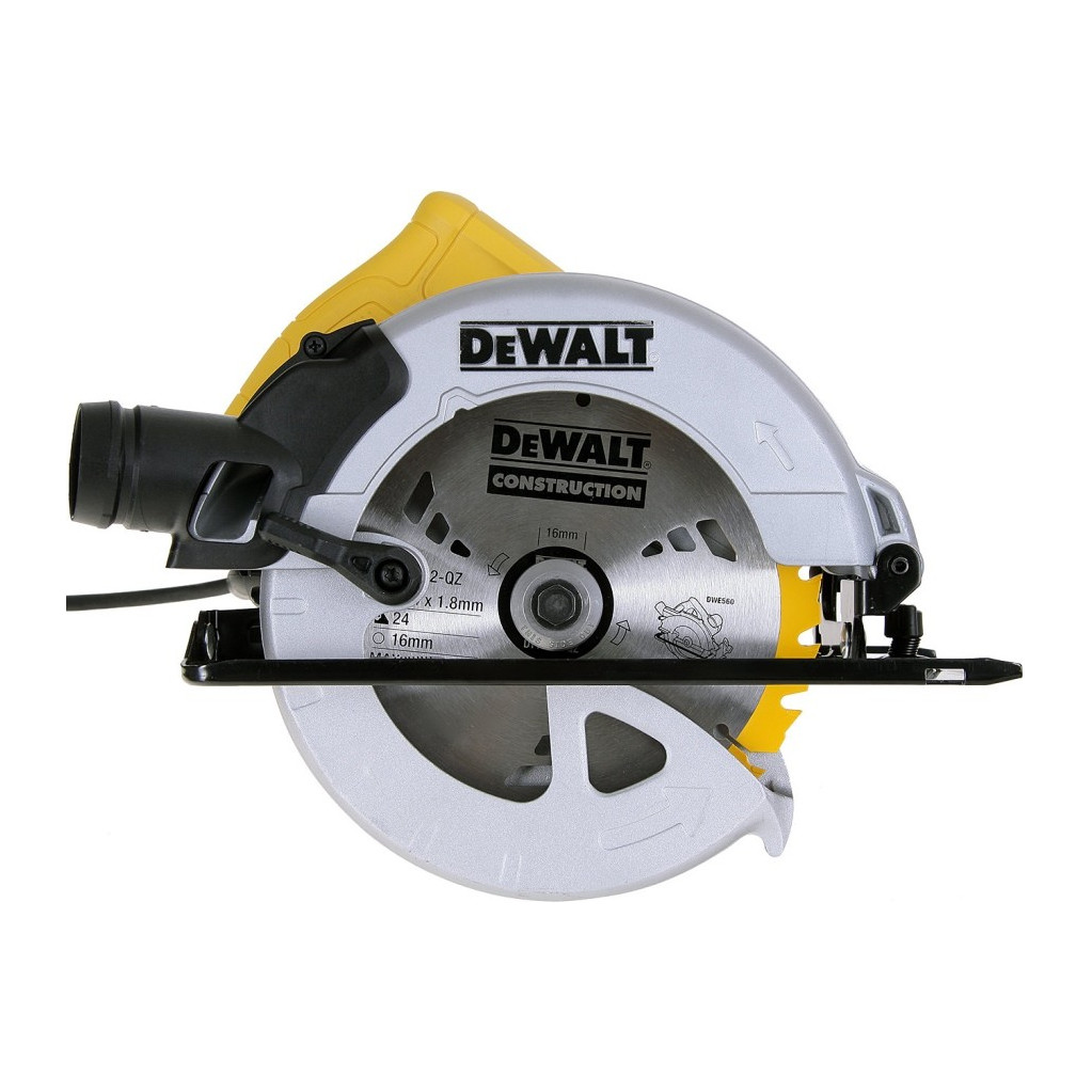 Пила циркулярная DeWALT DWE560K  1350Вт 5500об/мин 184x16мм макс.пропил 65мм в кейсе