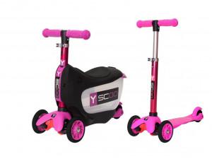 Y-Scoo Mini Jump & Go - каталка-самокат 3 в 1 розовый