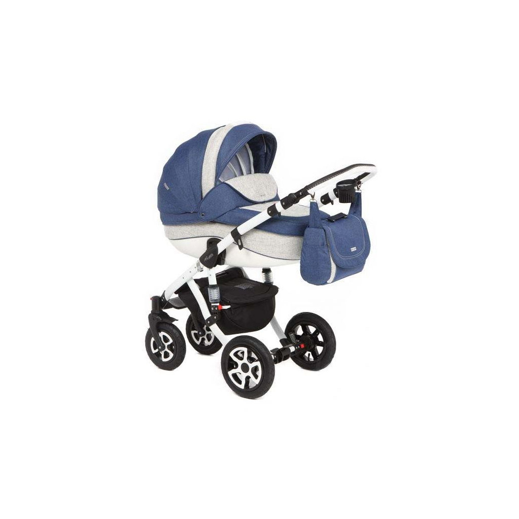 Adamex Barletta - коляска 3 в 1 Delux 664K темно сине-светло-серая