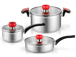Набор кастрюль Xiaomi Yi Wu Yi Shi Uncoated healthy stainless steel pot three sets (1,6л, 2,6л, 5,5л)
