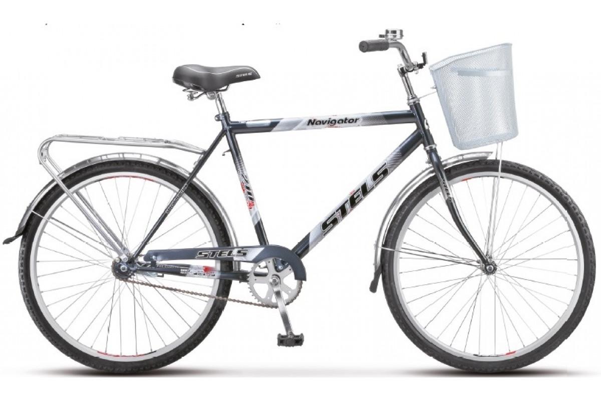 """Велосипед Stels Navigator 26"""" 210 Gent Z010 Чёрный (с корзиной) (LU085337) 19"""""""