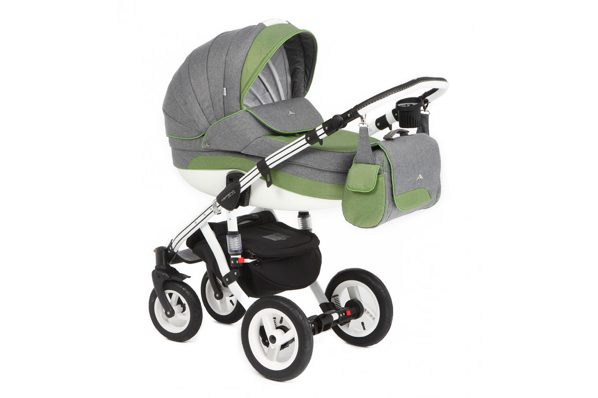 Adamex Aspena Deluxe - коляска 3 в 1 (серая и зеленые полосы 352W)