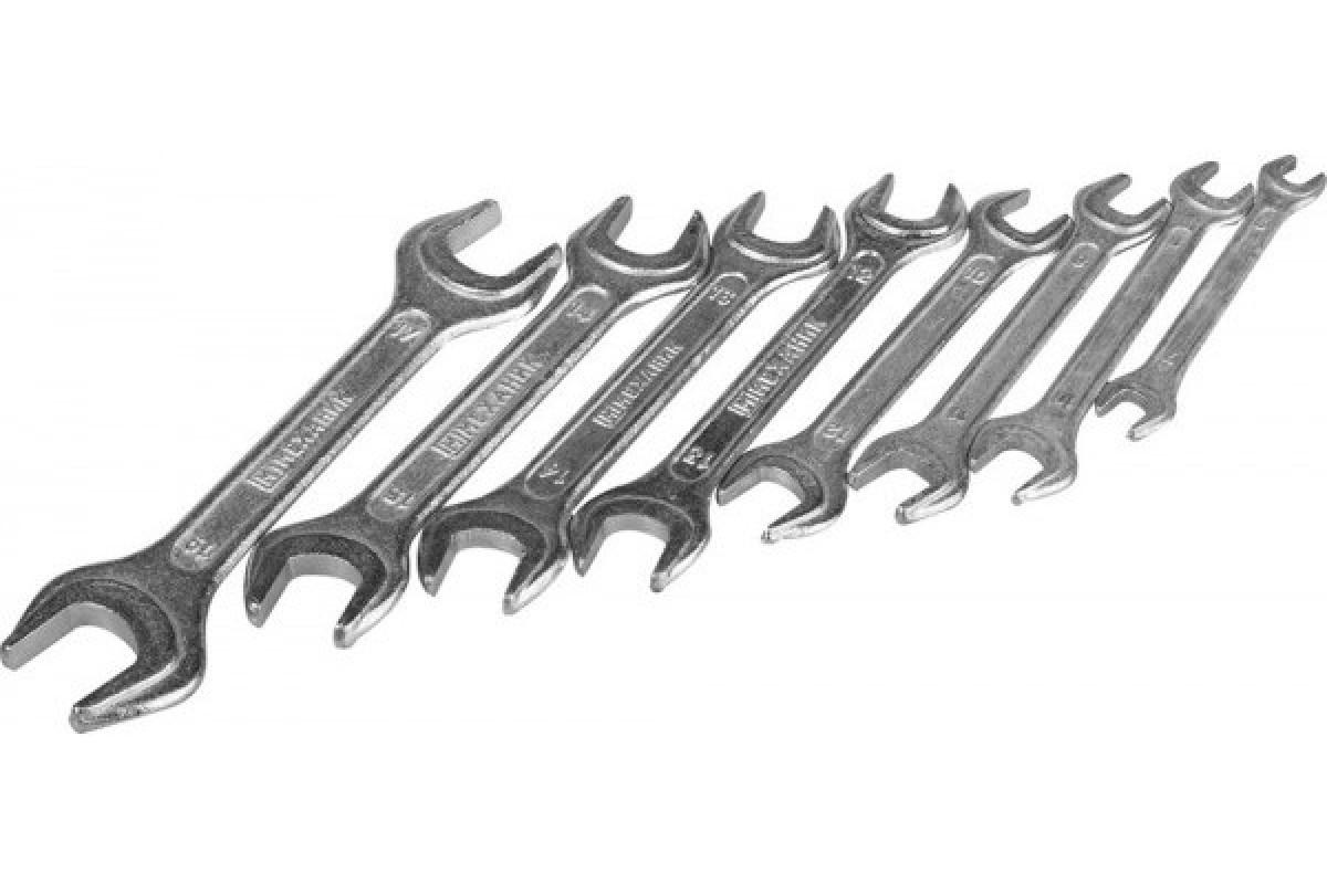 Набор рожковых гаечных ключей МЕХАНИК 8 шт, 6 - 19 мм