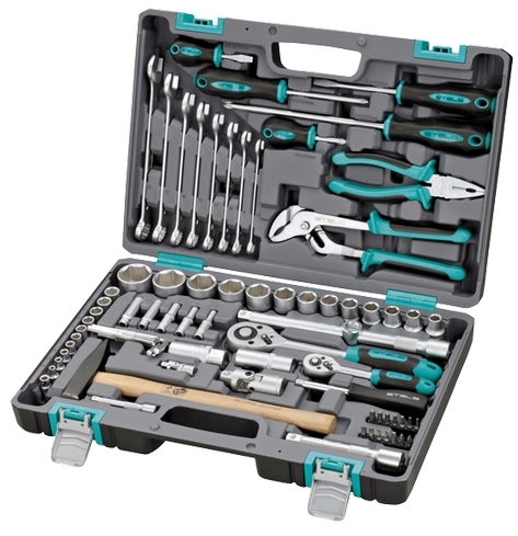 Набор инструментов Stels 14104  1/2'' 1/4'' CrV пластиковый кейс 76 пр.