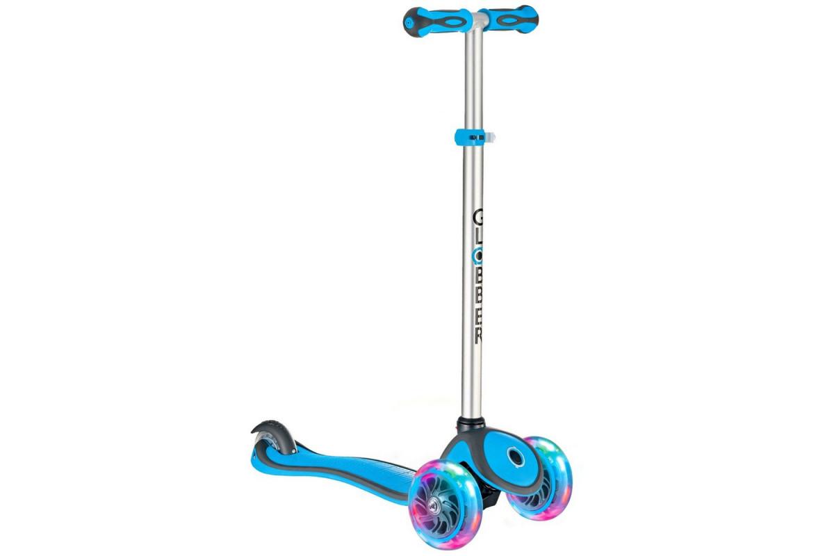 Y-Scoo Globber Primo Plus - детский самокат со светящимися колесами Cyan синий