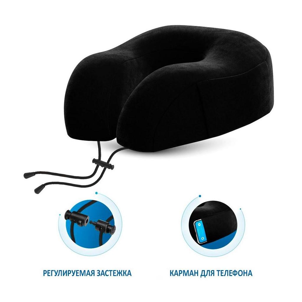 Подушка для путешествий RoadLike Travel Smart с эффектом памяти, черная