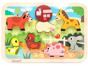 Janod Пазл Животные на ферме объемный: 7 элементов