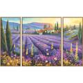 Schipper Триптих Лавандовые поля - раскраска по номерам, 50х80 см