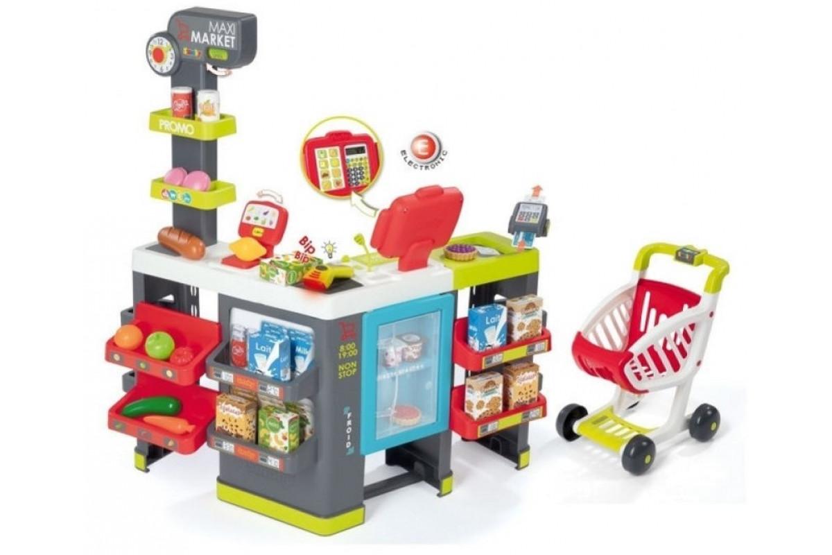 Smoby Супермаркет MAXI Market с тележкой, св, зв, 50 акс., 83x59,6x89,6 см