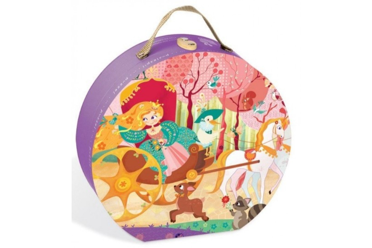 Janod Пазл Карета для принцессы в круглом чемоданчике: 54 элемента