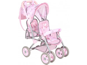 Corol Коляска для куклы прогулочная 600B Girl для двойни (розовый и принт)