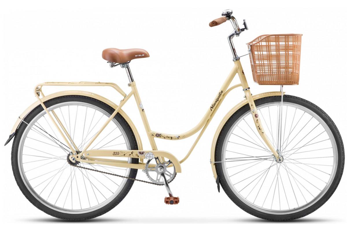 """Велосипед Stels Navigator 28"""" 325 Lady Z010 (с корзиной) (LU087509) Бежевый/Коричневый"""