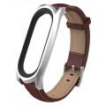 Кожаный ремешок для браслета Mijobs для Xiaomi Mi band 3, серебро