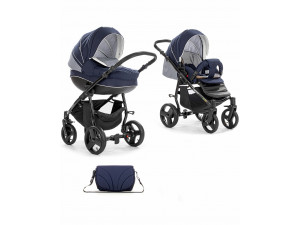Tutis Mimi Plus - коляска 2 в 1 сине-белыйсетка