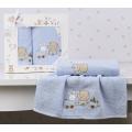 Комплект полотенец Karna BAMBINO-TRAIN 50х70, 70х120 голубой