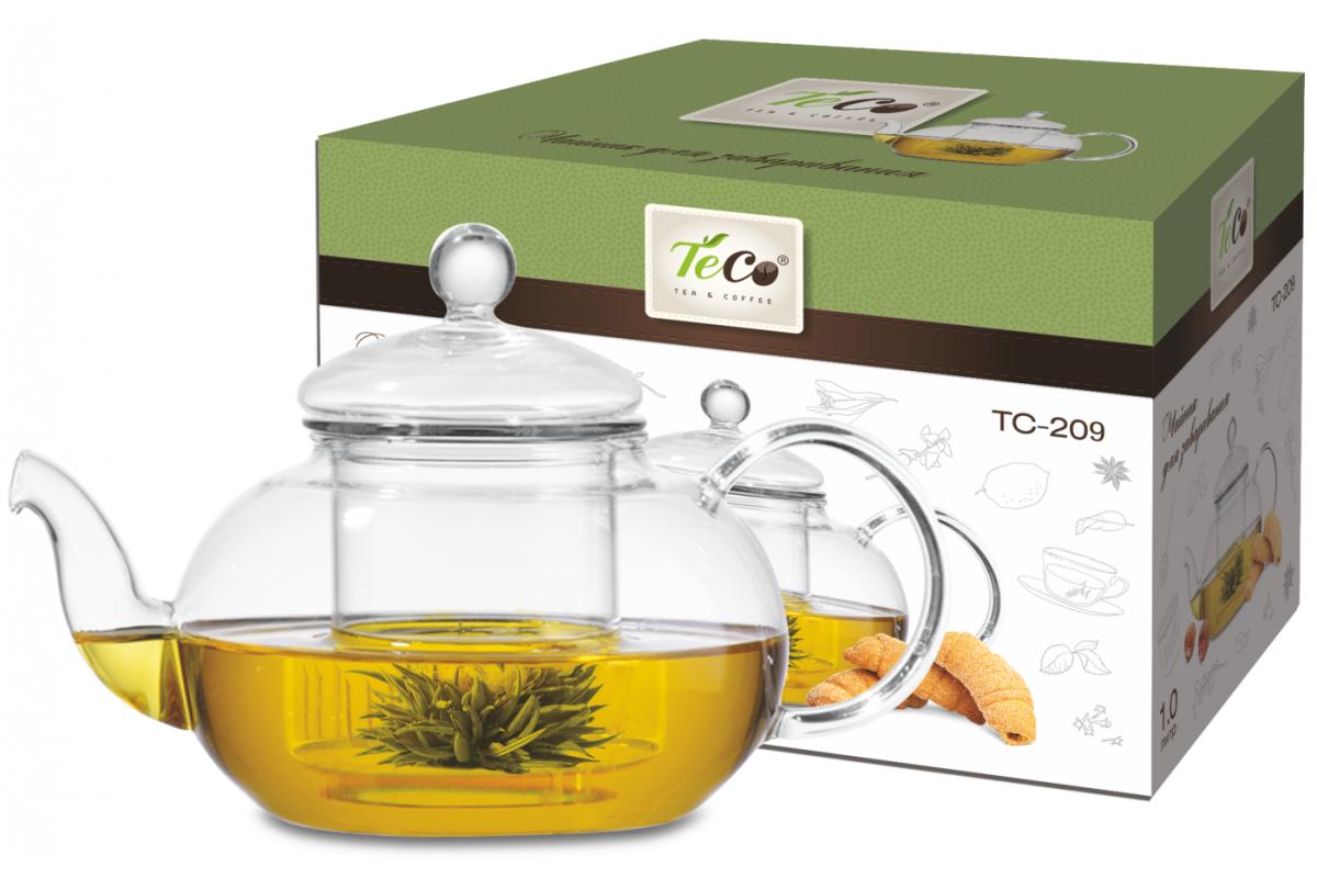 Чайник для заваривания TECO TC -209 (1000мл,из стекла c ситом из стекла и крышкой из стекла)