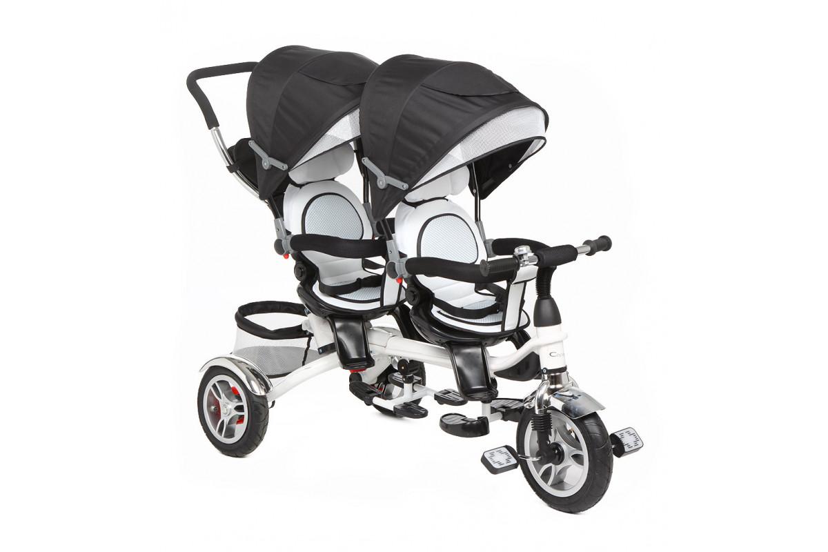 Capella Twin Trike 360 - детский трехколесный велосипед для двойни Graphite серый (графит)