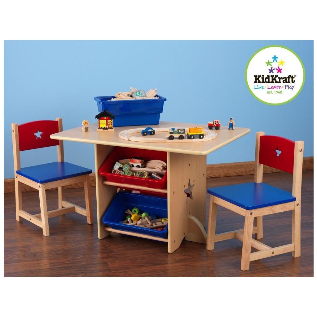 Комплект KidKraft стол + 2 стула + 4 ящика Star (26912_KE)
