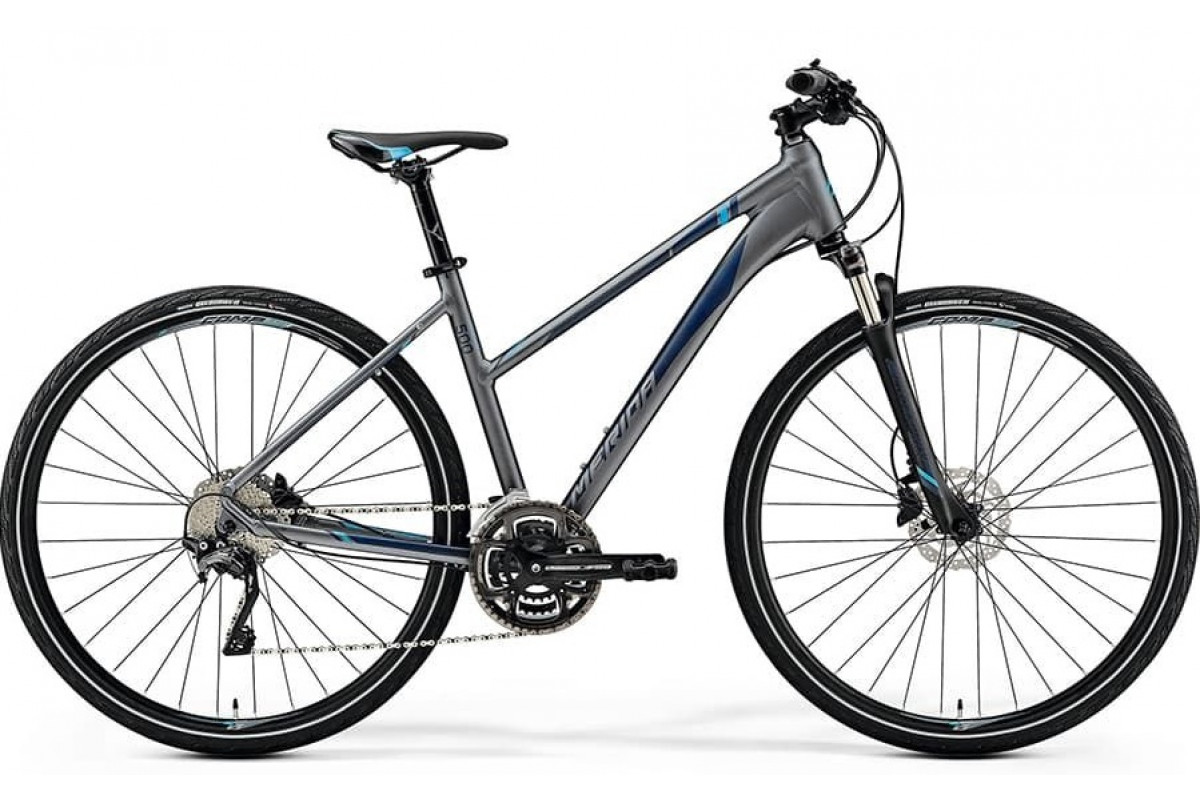 Велосипед Merida Crossway 500 Lady MattDarkSilver/Blue/DarkBlue 2019 M(51cm)(73111)