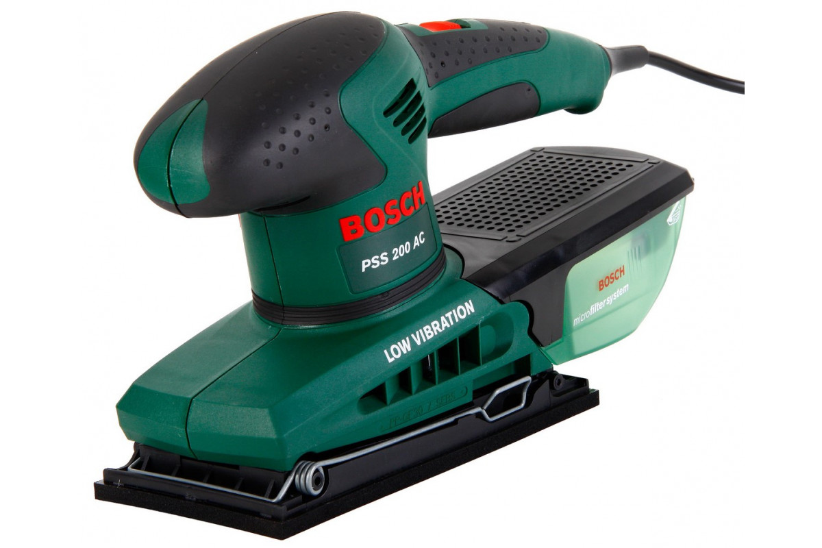 Шлифмашина плоская Bosch PSS 200 AC (0.603.340.120)  200Вт 12000об/мин 93x230мм микроф-р, в кейсе