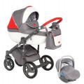 Adamex Massimo Sport - коляска 3 в 1 кожа серо-красный V101