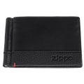 Зажим для денег Zippo с защитой от сканирования RFID, цвет чёрный, натуральная кожа, 11x1x8,2 см