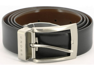 Ремень Cross Manresa двухсторонний, кожа наппа гладкая, цвет чёрный/коричневый, 117 х 3,5 см, AC308413-XL