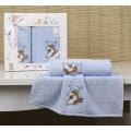 Комплект полотенец Karna BAMBINO-TEDDY 50х70, 70х120 голубой