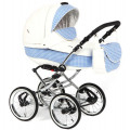 Adamex Katrina - коляска 2 в 1 белая кожа-синий принт 322S